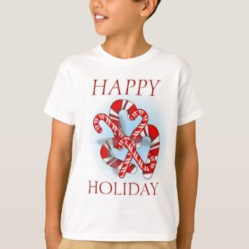 Christmas Happy Holiday Candy Canes Tee Shirt by creativeconceptss at Zazzle