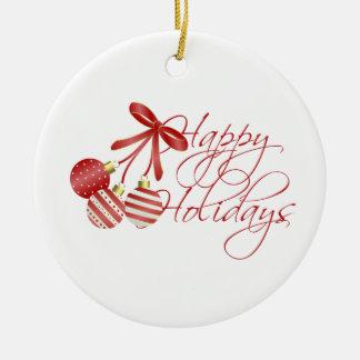 Christmas Happy Holidays Ceramic Ornament