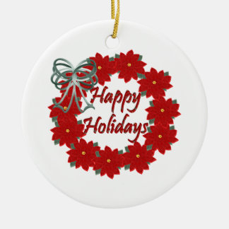 Christmas Happy Holidays Ceramic Ornament