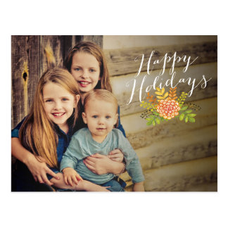 Christmas Happy Holidays Floral Photo Postcard