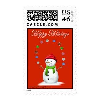 Christmas Happy Holidays Season's Greetings xmas Postage Stamps