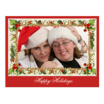 Christmas Happy Holidays Traditional Red Postcard