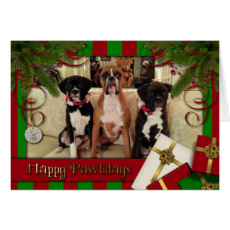 Christmas - Happy Pawlidays - Boxers Greeting Card