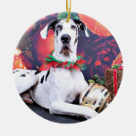 Christmas - Harlequin Great Dane - Baron Double-Sided Ceramic Round Christmas Ornament