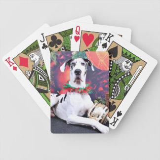 Christmas - Harlequin Great Dane - Baron Bicycle Playing Cards