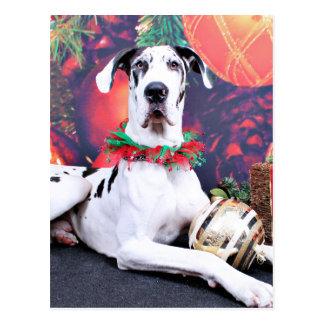 Christmas - Harlequin Great Dane - Baron Post Cards