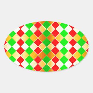 Christmas Harlequin Oval Sticker