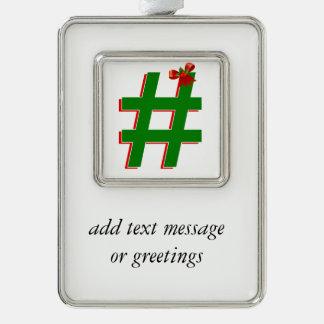 #Christmas #HASHTAG - Hash Tag Symbol Christmas Ornament