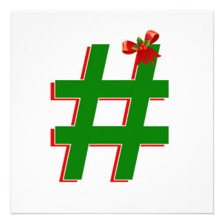 Christmas #HASHTAG - Hash Tag Symbol Custom Invitations
