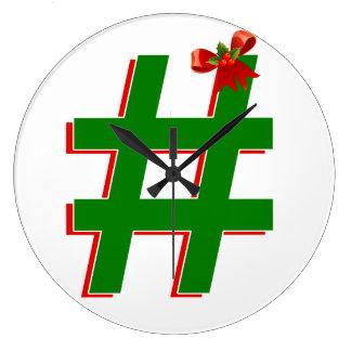 #Christmas #HASHTAG - Hash Tag Symbol Large Clock