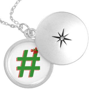 #Christmas #HASHTAG - Hash Tag Symbol Round Locket Necklace