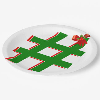 #Christmas #HASHTAG - Hash Tag Symbol 9 Inch Paper Plate