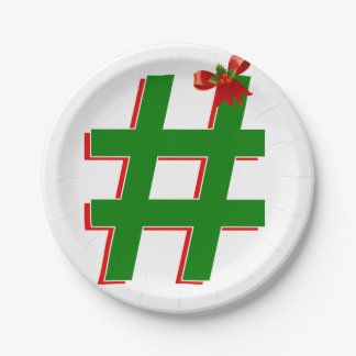 #Christmas #HASHTAG - Hash Tag Symbol 7 Inch Paper Plate