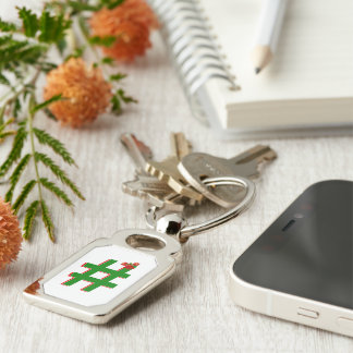 #Christmas #HASHTAG - Hash Tag Symbol Silver-Colored Rectangular Metal Keychain