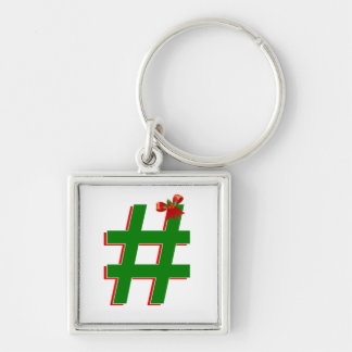 #Christmas #HASHTAG - Hash Tag Symbol Silver-Colored Square Keychain