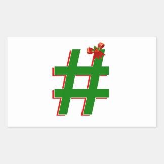 Christmas HASHTAG - Hash Tag Symbol Rectangular Stickers