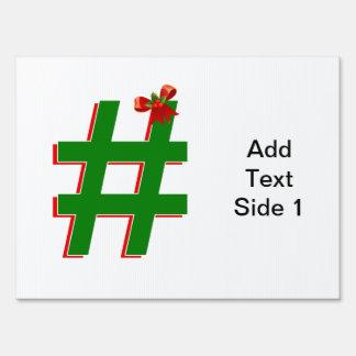 #Christmas #HASHTAG - Hash Tag Symbol Lawn Sign