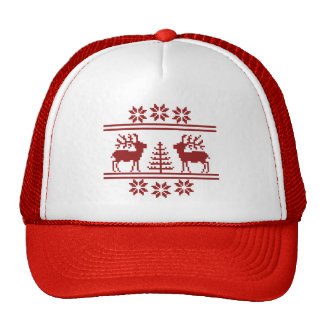 Christmas Hat with reindeer and tree