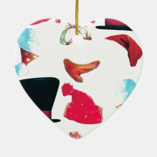 Christmas hats Double-Sided heart ceramic christmas ornament