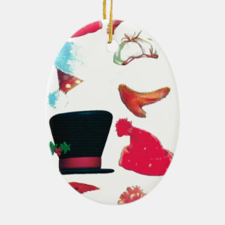 Christmas hats Double-Sided oval ceramic christmas ornament