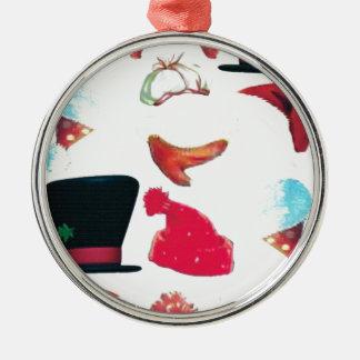 Christmas hats round metal christmas ornament