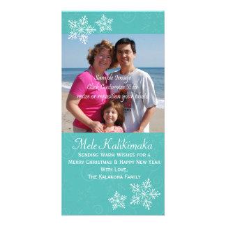 Christmas Hawaiian Hibiscus Snowflake Photo Card