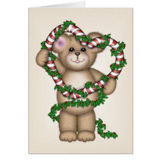 Christmas Heart Bear Greeting Card