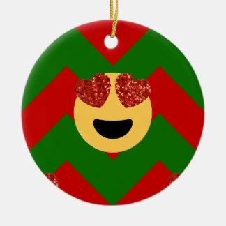 christmas heart eye emoji ceramic ornament