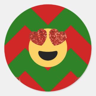 christmas heart eye emoji classic round sticker