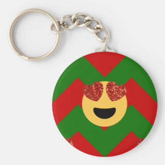 christmas heart eye emoji keychain