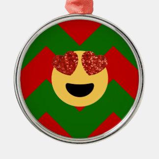 christmas heart eye emoji metal ornament