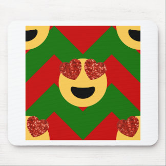 christmas heart eye emoji mouse pad