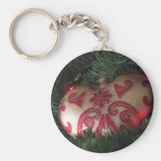 Christmas heart ornament keychain