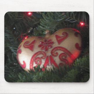 Christmas heart ornament mouse pad
