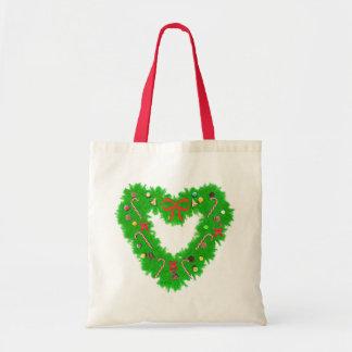 Christmas Heart Wreath Budget Tote Bag