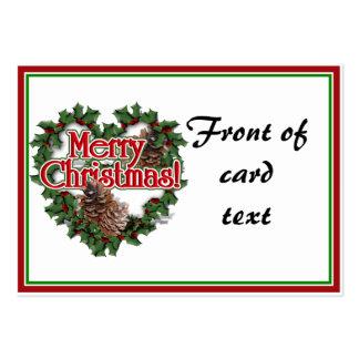 Christmas Heart Wreath Business Card Templates
