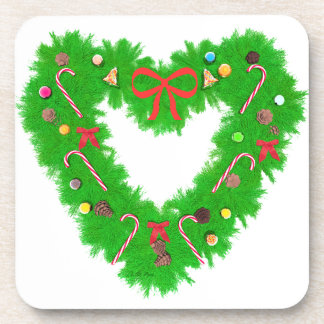 Christmas Heart Wreath Drink Coaster