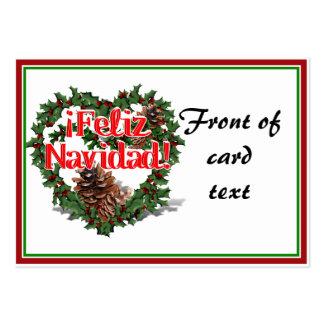 Christmas Heart Wreath (Feliz Navidad) Business Card Template