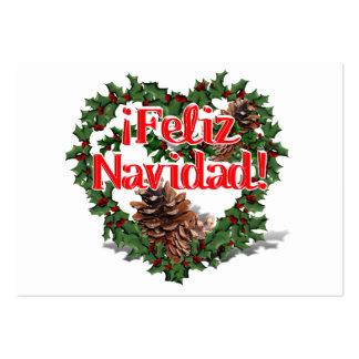 Christmas Heart Wreath (Feliz Navidad) Business Card Templates