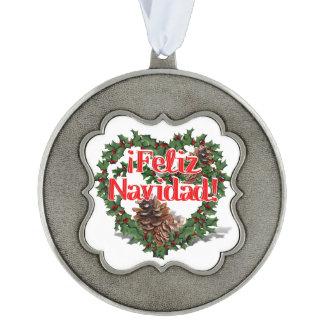 Christmas Heart Wreath (Feliz Navidad) Scalloped Pewter Christmas Ornament