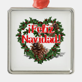 Christmas Heart Wreath (Feliz Navidad) Square Metal Christmas Ornament