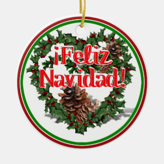 Christmas Heart Wreath (Feliz Navidad) Double-Sided Ceramic Round Christmas Ornament