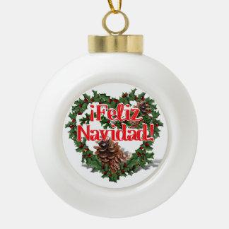Christmas Heart Wreath (Feliz Navidad) Ceramic Ball Christmas Ornament