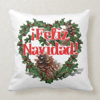 Christmas Heart Wreath (Feliz Navidad) Pillows