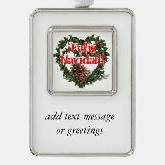 Christmas Heart Wreath (Feliz Navidad) Silver Plated Framed Ornament