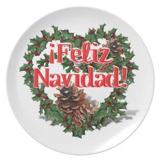 Christmas Heart Wreath (Feliz Navidad) Dinner Plates