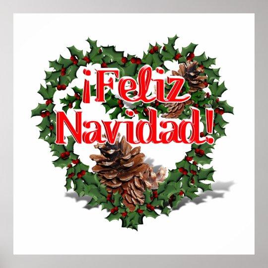 Christmas Heart Wreath.Christmas Heart Wreath Feliz Navidad Poster