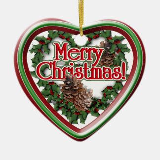 Christmas Heart Wreath Double-Sided Heart Ceramic Christmas Ornament