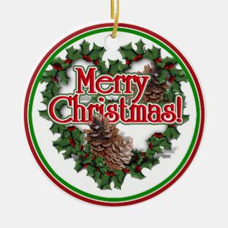 Christmas Heart Wreath Double-Sided Ceramic Round Christmas Ornament