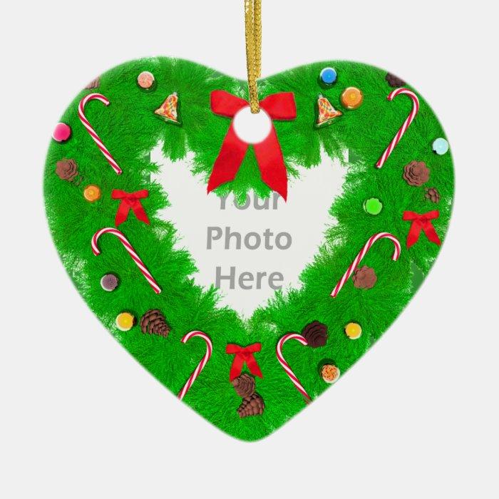 Christmas Heart Wreath Photo Frame Ceramic Ornament Zazzle